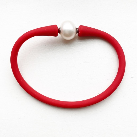 Red and White Pearl Mickey Bracelet Bracelet Stack